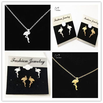 Jewelry Sets Flirty Flamingo Charm Necklaces Stud Earrings for  304 Stainless Steel Accessories