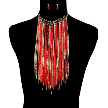 Seed Bead and Gold Chain Long Fringe Choker Set