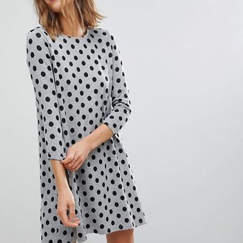 Stradivarius Polka Dot Swing Dress at asos.com
