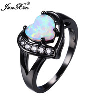 JUNXIN Women White Fire Opal Heart Ring With AAA Zircon Black Gold Ring Promise Engagement Rings Bridal Fashion Jewelry