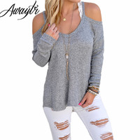 Awaytr Sexy Grey Hollow Out Solid Shirt for Women Trendy Autumn Slim Long Sleeve Tees Sexy Lady Club off the Shoulder Tops &Tees