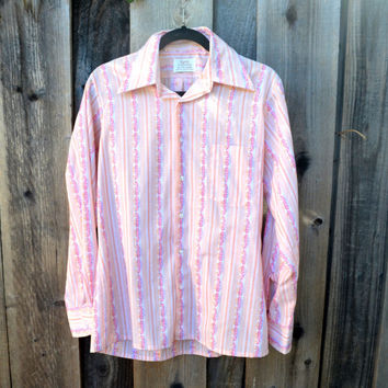 Vintage Men's Shirt, 1970s Long Sleeve Button Down Shirt, Peach and Purple Stripes, Kent Collection By Arrow, Neck Size 15 - 15 1/2