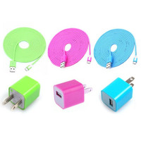 Cool Colouful 3PCS USB Cord And Charger For Iphone 5