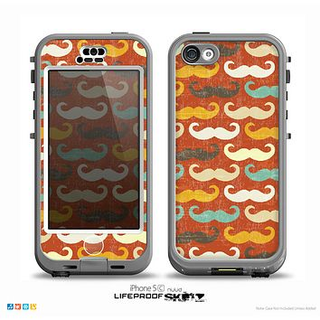 The Vintage Dark Red Mustache Pattern Skin for the iPhone 5c nüüd LifeProof Case