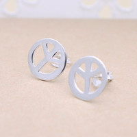925 sterling silver symbol of peace earrings