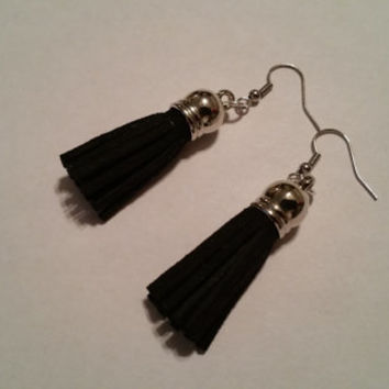 Black tassel earrings, black suede tassel earrings, black dangle earrings, tassel jewelry, handmade jewelry, gifts for her, suede earrings