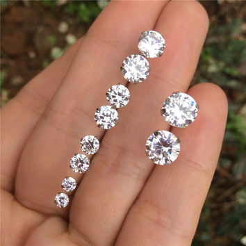 Genuine 925 Sterling Silver Stud Earrings For Womens Round CZ Diamond Crystal Mens Small 3 5 mm Earrings Sets Lots Cubic Zircon
