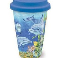 Cape Shore Dolphin Cove Ceramic Travel Coffee or Cold Drink Mug/ Cup