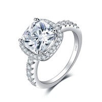 Jewelry Palace Cushion 3ct Cubic Zirconia Promise Halo Solitaire Engagement Ring 925 Sterling Silver