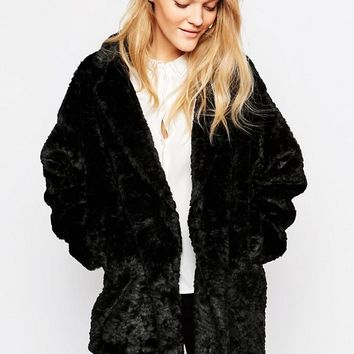 Just Female Mawi Faux Fur Coat In Black at asos.com