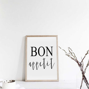 Kitchen Wall Decor,Kitchen Sign,Restaurant Decor,Bar Decor,Home Decor,Inspirational Quote,Wall Art,Typography Print,Quote,BON APPETIT SIGN