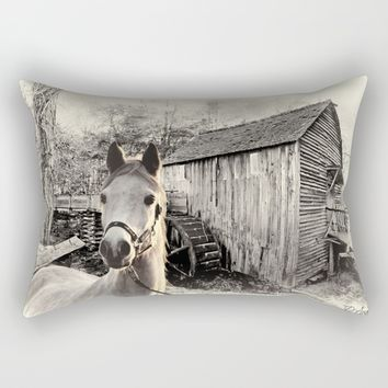 Horse At The Old Mill Rectangular Pillow by Theresa Campbell D'August Art