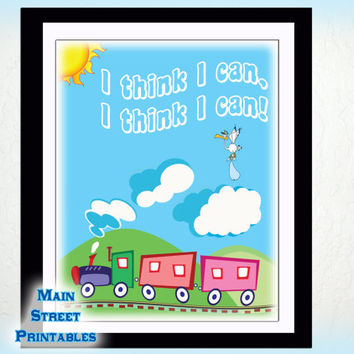 I Think I Can, I Think I Can, Casey Jr, Dumbo, Nursery Art, Art Typography, 8 X 10 Print Wall Art Poster,  DOWNLOAD