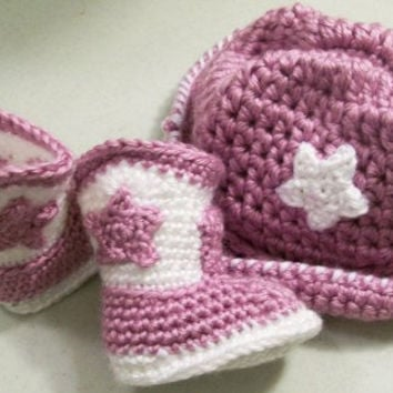 Baby Gift Set-Lavender Cowboy hat and Boots-Baby girl-Crochet-Baby Shower Gift -Made in the USA--