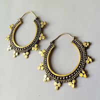 Large Tribal Hoops, Ethnic Earrings, Bohemian Earrings, Indian Earrings, Gypsy Earrings, Gold Earrings