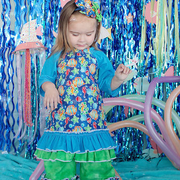 Under The Sea Ruffled Pant Set  -  Little Girl Ruffle Pants - Peasant Top - Ocean Themed Outfit