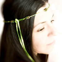 Green forest hairband Spring summer fashion by Mashacrochet