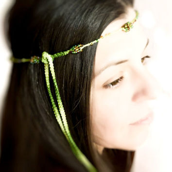 Green forest hairband  Bead crocheted versatile by Mashacrochet