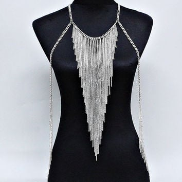 Women Silver Shine Body Chain Necklace, Harness Necklace, Beach Party