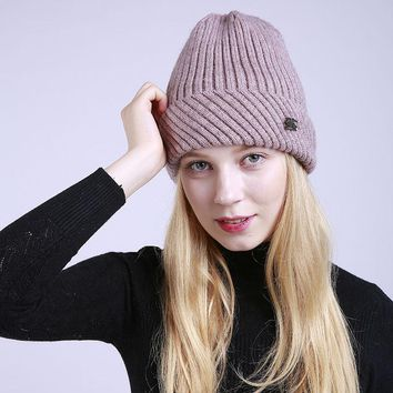 Winter Cap Lady Fashion Without Brim Hat Solid Colour Blended Knitted Female Hat Women Beanies Outdoor Leisure Warm Hat