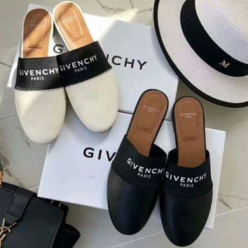 Givenchy Trending Summer New Style Leather Flat Lazy Letters Print Flat Slippers Sandals Shoes B-AS-XBWM