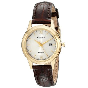 Citizen FE1082-05A Women's Eco-Drive Silver Dial Yellow Gold Steel Brown Leather Strap Watch