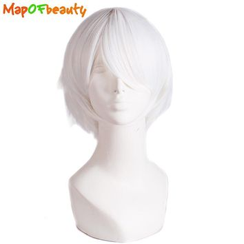 MapofBeauty short straight Fashion cosplay wigs White 30cm costume role play High Temperature Fiber Synthetic hair