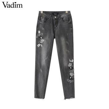 Women Retro Floral Embroidery Denim Jeans Fringe Tassel Pockets Ankle Length Pants Ladies Casual Trousers