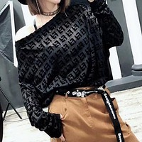 FENDI Popular Multicolor Women Sexy Full F Letter Long Sleeve Inclined Shoulder Sweater Top Full Black I13513-1