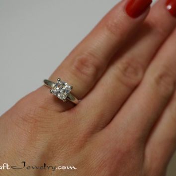 Princess Cut Cubic Zirconia Engagement Ring Sterling Silver 4 Prong  Solitaire 1-2.7 Ca 17b6dc270