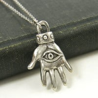 Silver Hamsa Pendant Necklace - Hand Eye Jewelry Charm