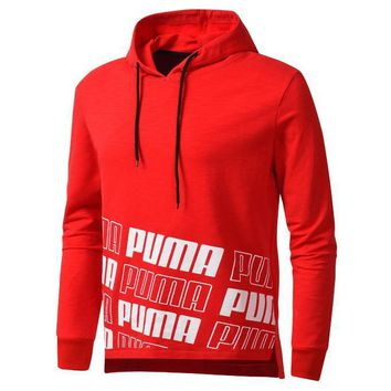PUMA 2018 autumn and winter men's sports plus velvet hooded casual sweater pullover Red