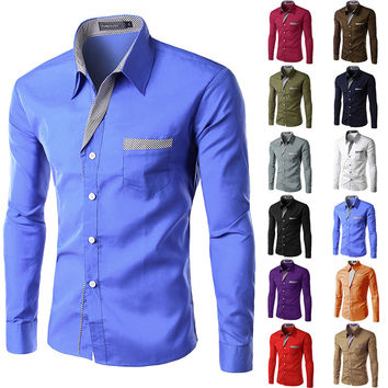 Quality Long Sleeve Shirt Men Dress Shirt.13 colors