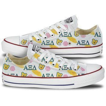 alpha xi delta bear quill low top custom converse