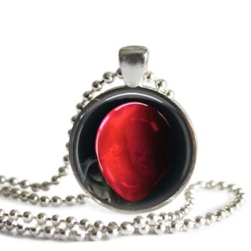 Pennywise Red Balloon Stephen King's It 1 Inch Silver Plated Pendant Necklace Handmade