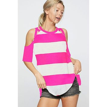 Striped Strappy Cold Shoulder Top - Hot Pink