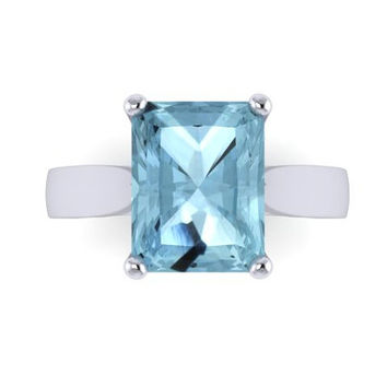 Classic Solitaire Engagement Ring 14K White Gold with 9x7mm Emerald Cut Aquamarine Center - V1100