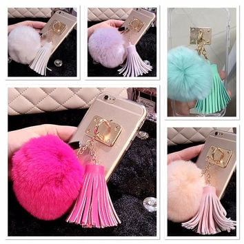 For Apple iPhone 6S, 6S Plus, 6, and 6 Plus, Fur Tassel Luxury Cell Phone Case