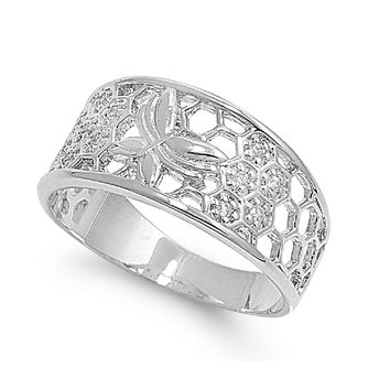 925 Sterling Silver CZ Butterfly Filigree Ring 10MM