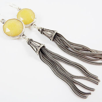 Yellow Round Gemstone Tassel Earrings - Jade - Matte Silver plated with Sterling Silver Earwire - Boho Gypsy Style
