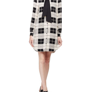 long-sleeve button-front plaid shirtdress, pumice, Size: