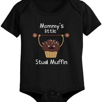 Mommy's Stud Muffin Baby Bodysuit Cute Infant Black Onesuit Gift for Baby Shower