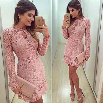 Hot Sale Women's Fashion Round-neck Long Sleeve Pink Hollow Out Lace One Piece Dress [6281473092]