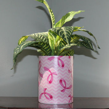 Pink Ribbon on White Wrapped Planter or Centerpiece by Bird Feeder Guy.  Breast Cancer Awareness.  Perfect Indoor Decor or Garden Art!