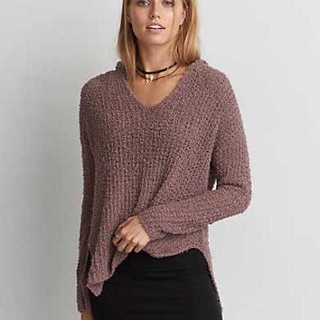 AEO Textured Pullover Hoodie , Mauve