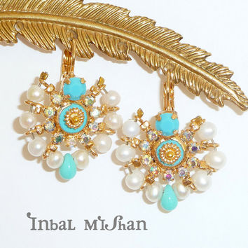 MAHARAJA EARRINGS, chandelier earrings, turquoise gemstones, pearl earrings, Mandala jewelry, Swarovski crystals, statement earrings.