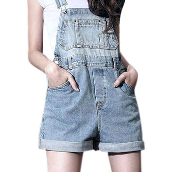Light Blue Denim Romper With Rips And Rolled Hem