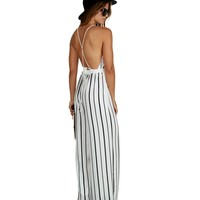 Ivory Sultry & Striped Chiffon Jumpsuit