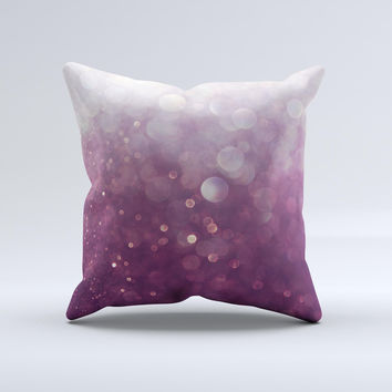 The Purple and White Unfocued Orbs of Light ink-Fuzed Decorative Throw Pillow