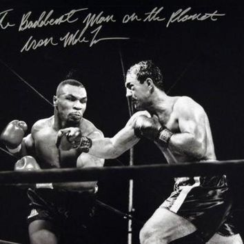 ICIKJNG Mike Tyson Signed Autographed 'The Baddest Man On The Planet' Glossy 16x20 Photo vs. Rocky Marciano (ASI COA)